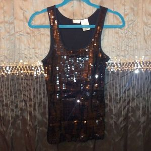 Cotton Tank with Sequins on Front
